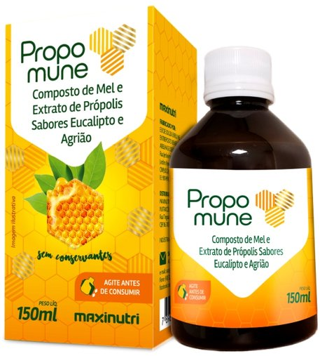 Xarope Propomune Composto de Mel Extrato de Própolis Sabor Eucalipto e Agrião 150ml Maxinutri