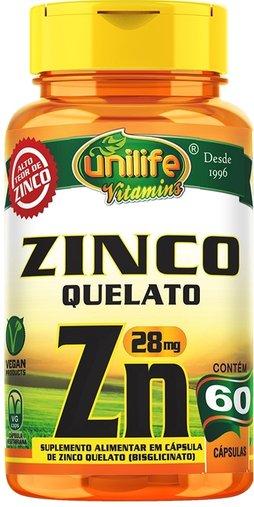 Zinco  Quelato  60 Cápsulas 28mg - Unlife
